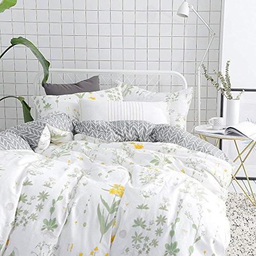 VClife Duvet Sets Full Sets White Yellow Branches Design Duvet Cover Cotton Cover Sets for Season