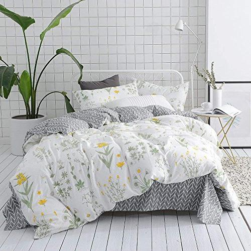VClife Floral Sets Full Sets White Flower Branches Duvet Cover Sets Cotton Cover
