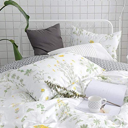 VClife Floral Duvet Cover Sets Full Queen Sets Yellow Branches Cover Cotton Cover Sets for Season Queen