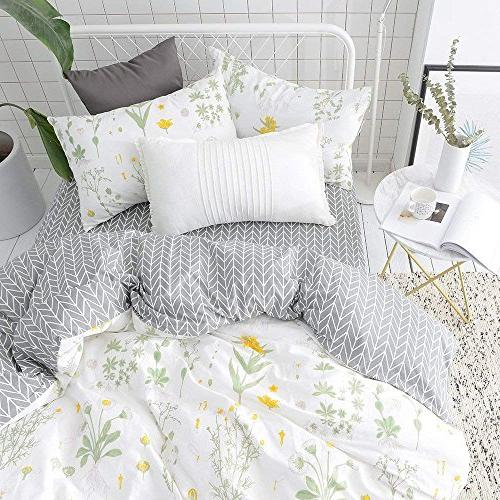 VClife Floral Duvet Sets Yellow Flower Branches Cover Sets Cotton Comforter Cover Sets for Season
