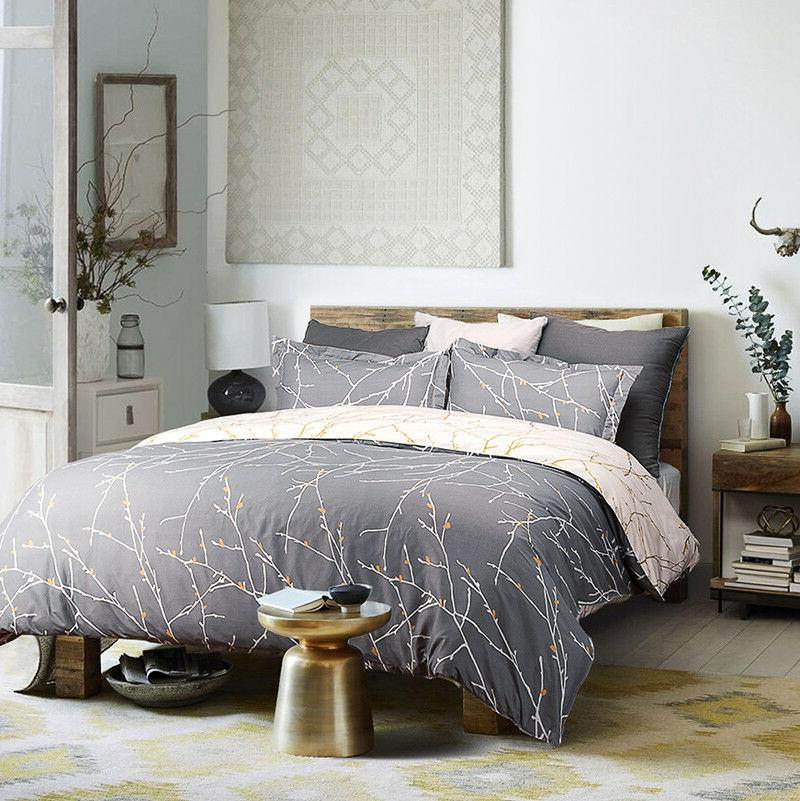 Bedsure Duvet Cover Set Grey/Ivory Printed Soft Comforter Queen Pillow