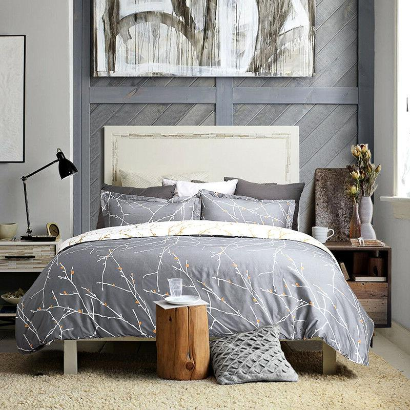 duvet cover set grey ivory printed soft