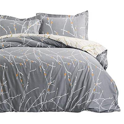 Bedsure Duvet Cover Set with Zipper Closure-Grey/Ivory Print