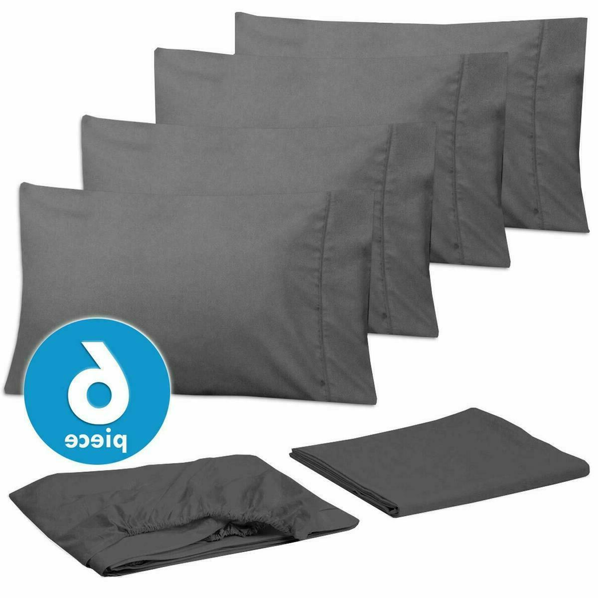Egyptian Bed Sheet Deep Pocket Fitted 6 Piece