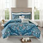 Elegant Navy Grey Bohemian Reversible Cotton Comforter 8 pcs