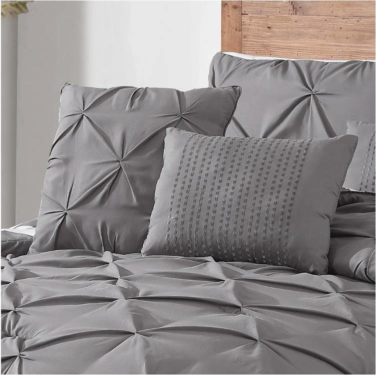 Avondale Pinch Pleat Reversible Charcoal Comforter Set