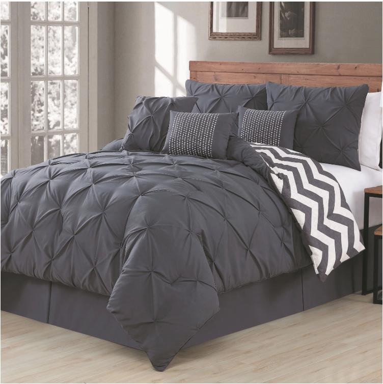 ella pinch pleat reversible 7pc charcoal comforter
