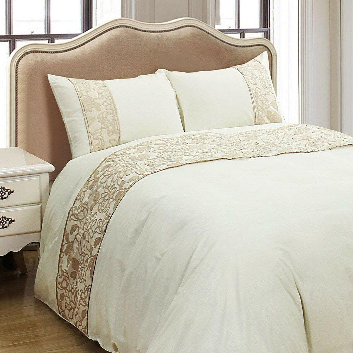 embroideried duvet cover glod floral pattern luxury