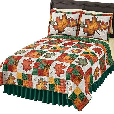 fall leaves reversible patchwork quilt