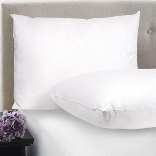 Feather & Down Blend Bed Pillows 100% Cotton Cover 2 Pack Qu