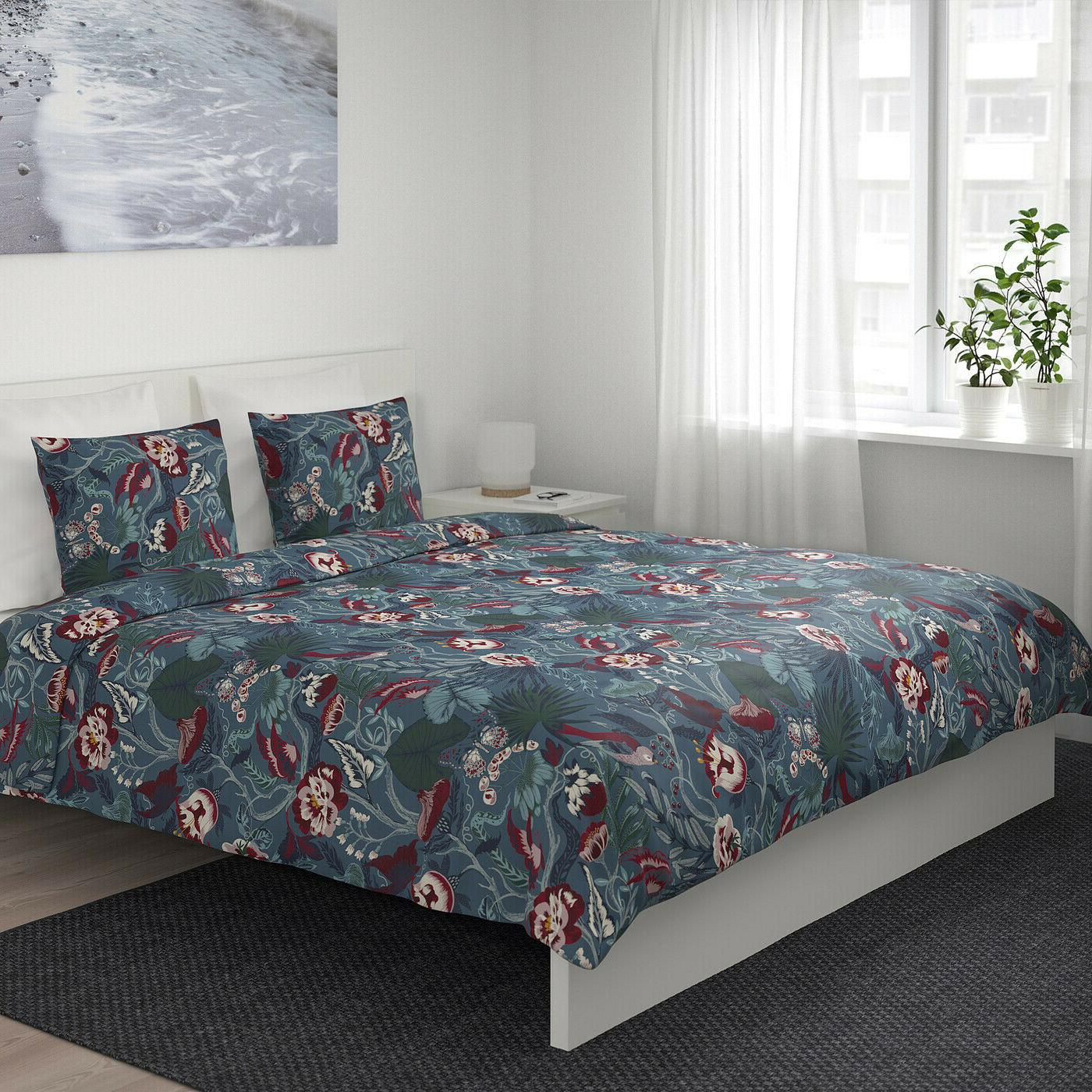 Ikea FILODENDRON Cover + 2 Bed Dark Blue