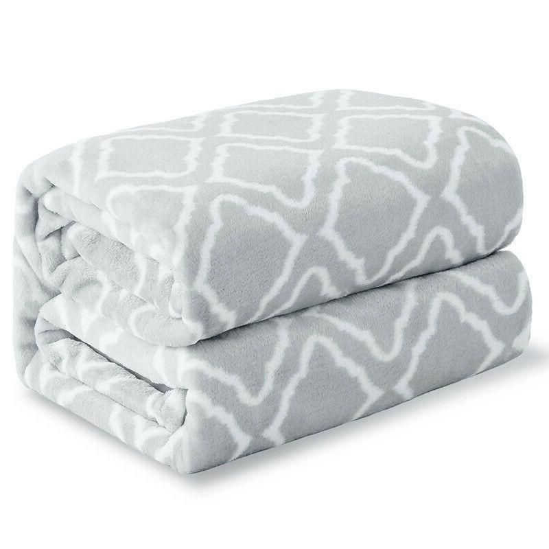 Bedsure Flannel Blanket Printed Lattice Scroll for Gift