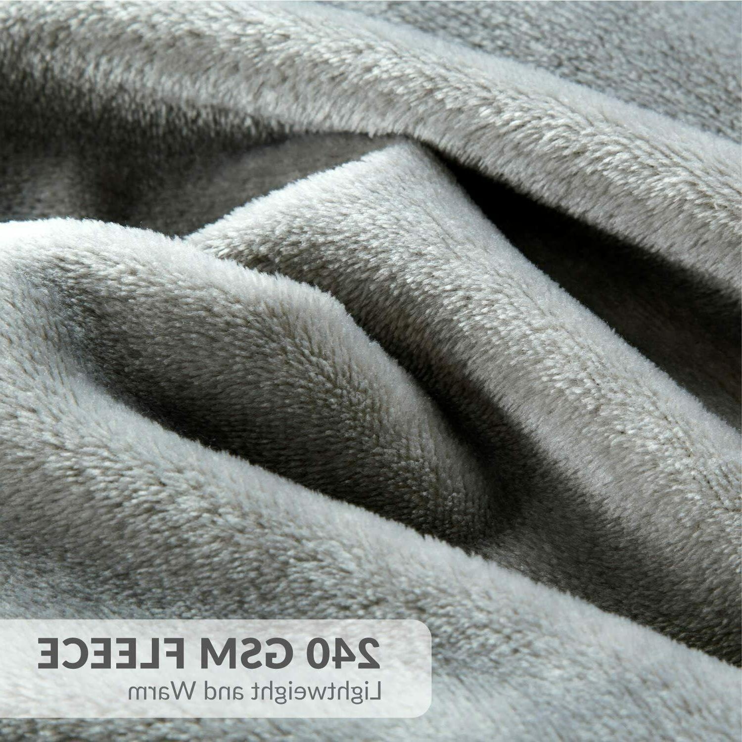 Bedsure Size Grey Soft Bed Blanket