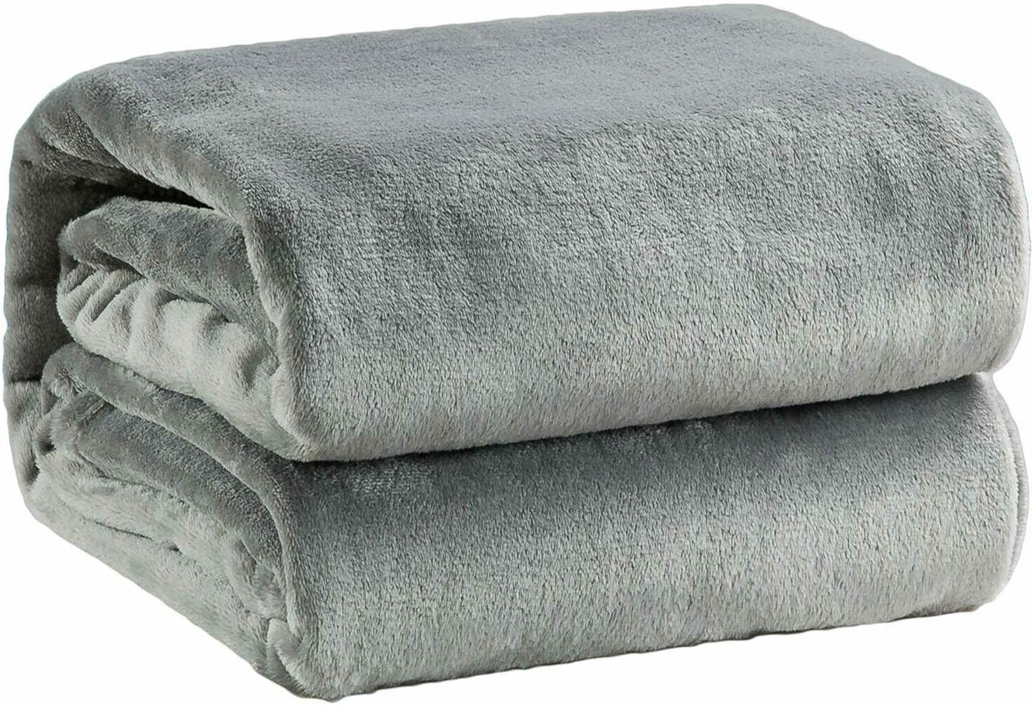 fleece blanket queen size grey lightweight super