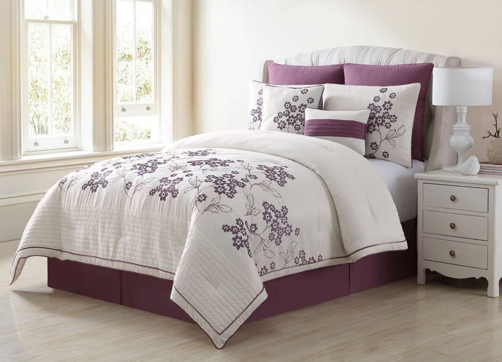 Full/Queen Comforter Purple Embroidered Floral 8 Piece Beddi