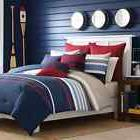 Full / Queen Size 3 Piece Nautica Reversible Striped Bedding