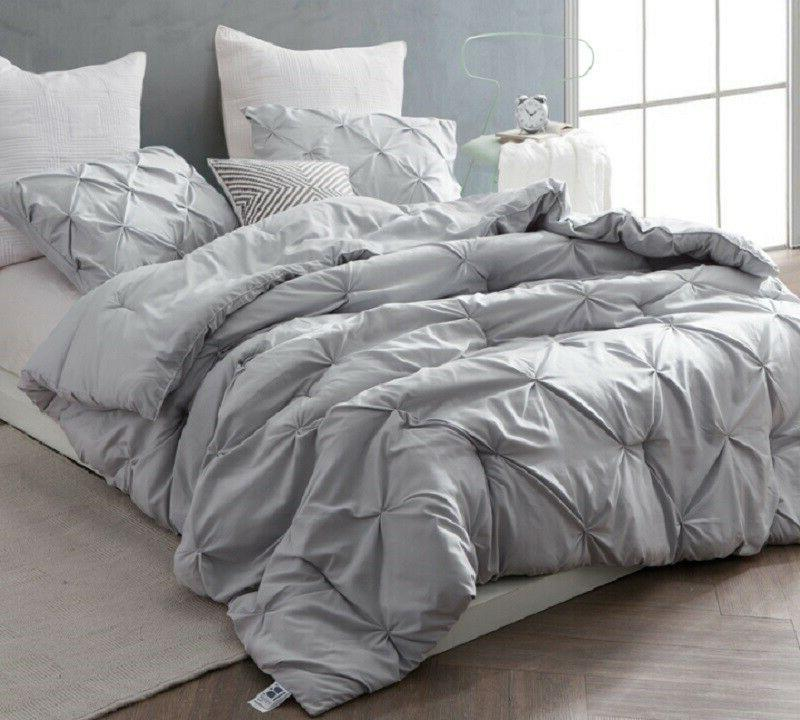 Glacier Gray Pin Tuck Comforter Oversized Queen Bedding by B