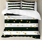 Gold and White Queen Size Duvet Cover Set Bold Lines Dots wi