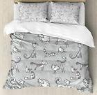 Ambesonne Grey Decor Duvet Cover Set, Cute Cat Figures Posin