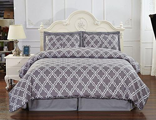 Unique Home 3 Piece Grey Pleat reversible comforter
