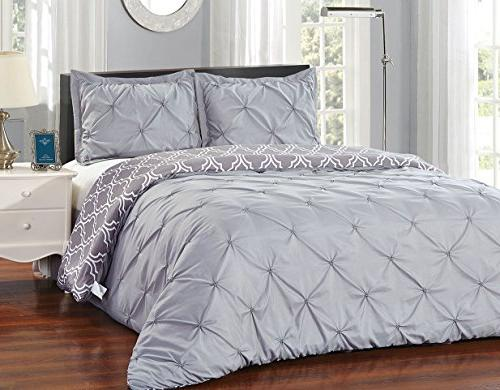grey pinch pleat reversible comforter
