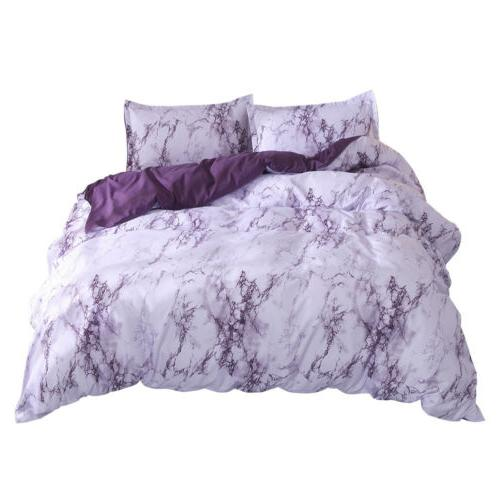 Marble Cover Pillowcase Bedding 3Pcs Quilt Cover