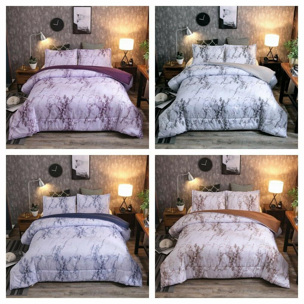 Marbled Supersoft Down Alternative Comforter Queen King Size