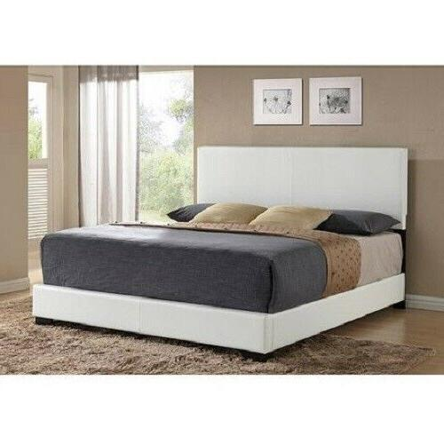 Modern FULL Size Platform Bed Frame With Headboard Faux Leat