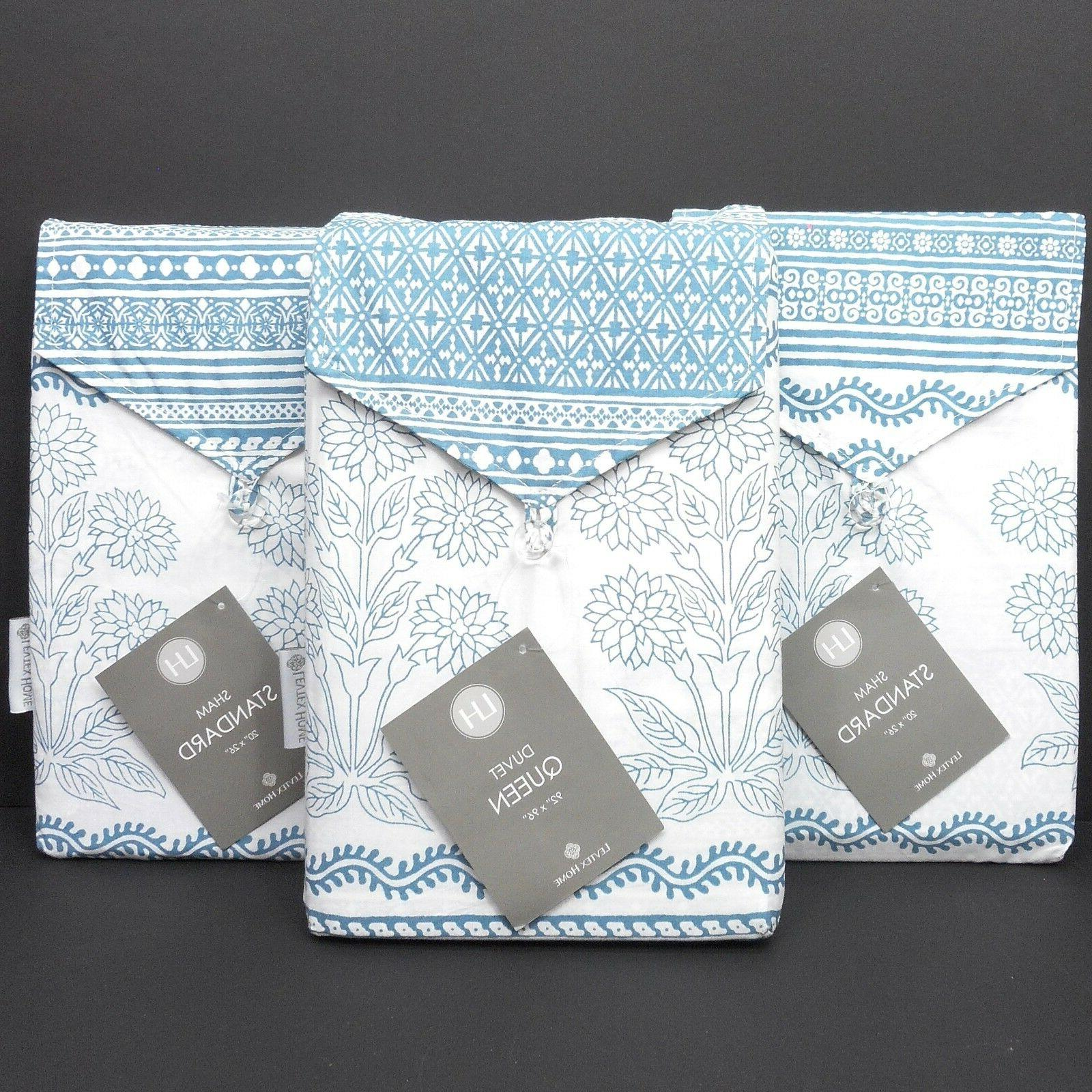 LEVTEX HOME Moroccan QUEEN DUVET COVER SET New White Teal Fl