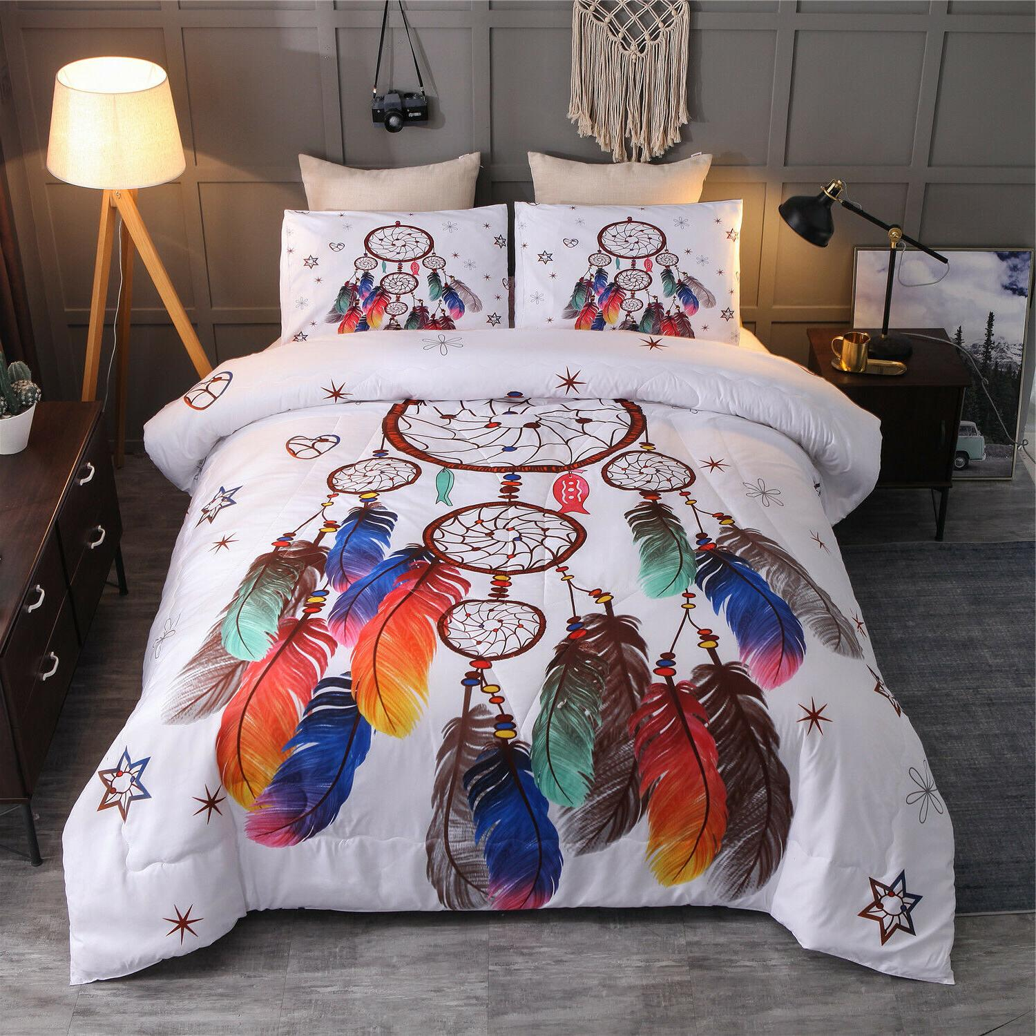 Bohemian Dream Catcher Comforter Set Boho Pillowcases Queen Bedding