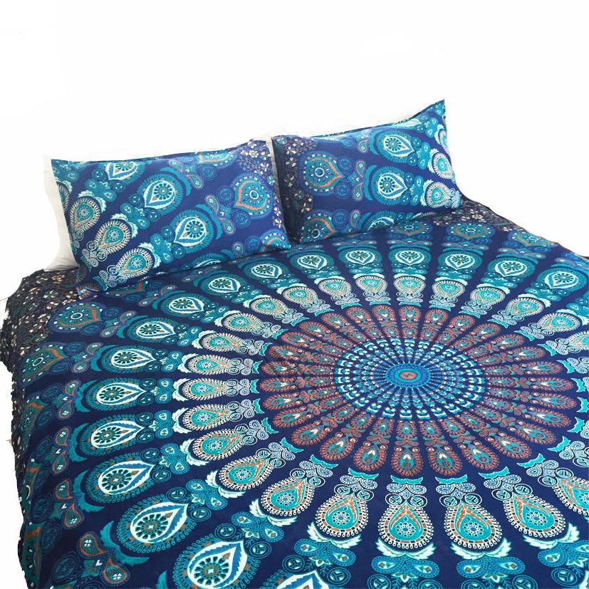 Ombre-Doona-Mandala-Hippie-Bohemian-Queen-Quilt-2-pillow-Cover-Duvet-Blanket In