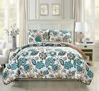 Fancy Linen Over Sized Quilt Bedspread Venice Off White Brow