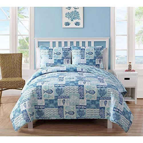 patchwork sealife polyester quilt set