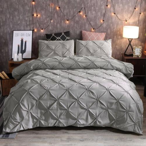 Pinch Pleat Pintuck Duvet Comforter Pillowcase Set Twin Queen