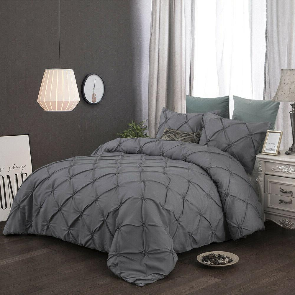 Gray Pinch Pleat Duvet Cover Set For Comforter Queen Size Be