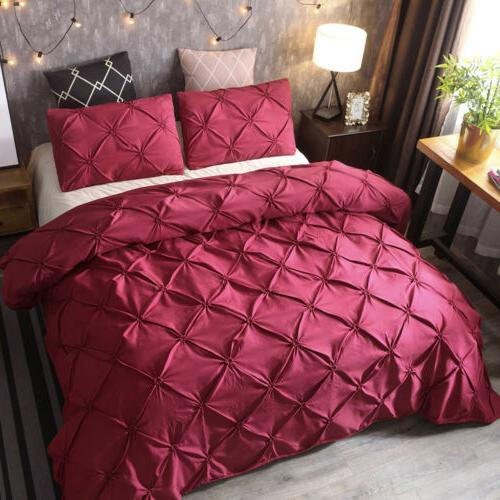 Pinch Pleat Pintuck Duvet Comforter Set Queen