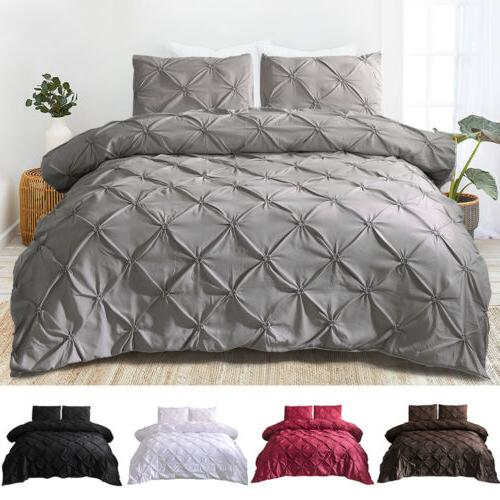 pinch pleat pintuck duvet comforter cover pillowcase