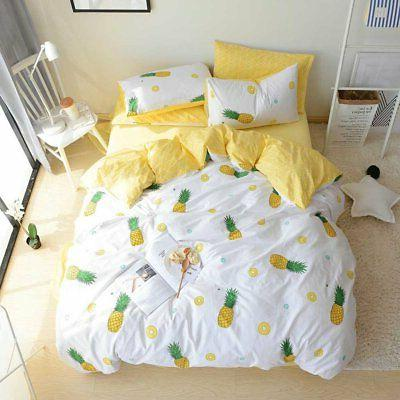 BuLuTu Pineapple 3 Pieces Kids Bedding Duvet Cover Sets Quee