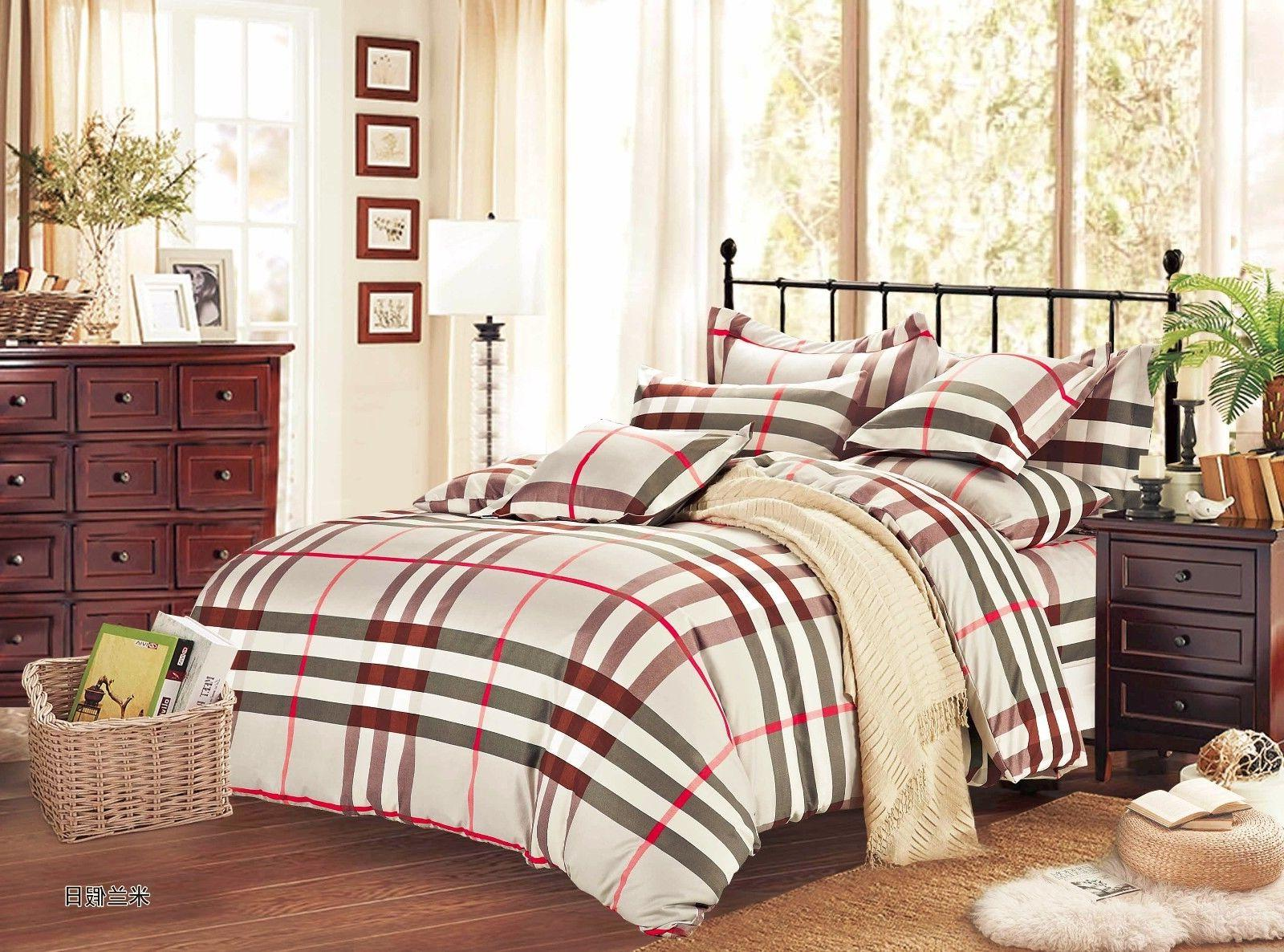 plaid microfiber 3pc bedding Set:1 Duvet Cover & 2 Pillow Sh