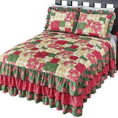 Poinsettia Christmas Bedding w/ Ruffles, by Collections Etc