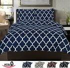 Queen Duvet Cover Set Navy Blue White Bedding Bedroom Decor