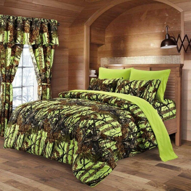 1 PC QUEEN LIME GREEN CAMO COMFORTER ONLY! BEDDING SOFT MICR