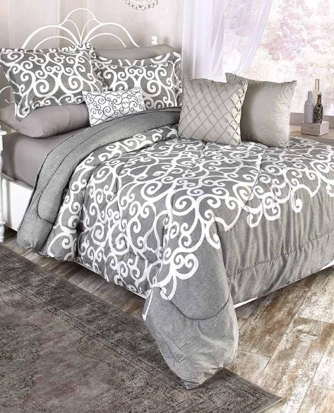 Queen or King Size Comforter Set Gray and White Bedding Dama