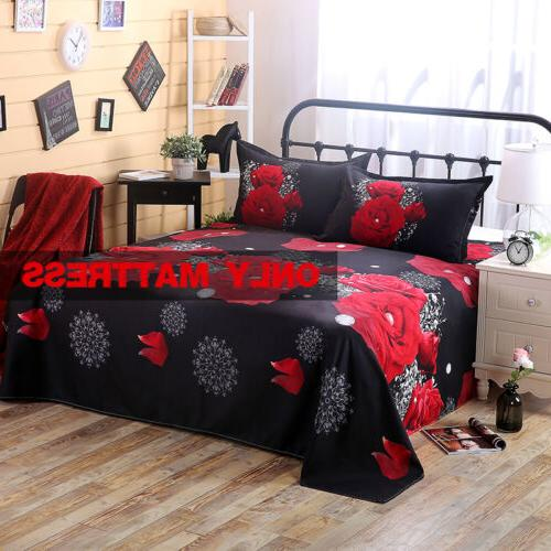 QUEEN 4pcs 3D Rose Set Fitted