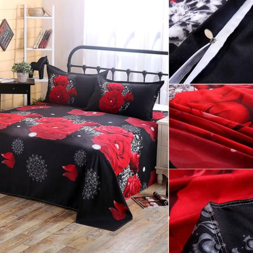 QUEEN 4pcs Rose Bedding Complete Set With Cover Fitted