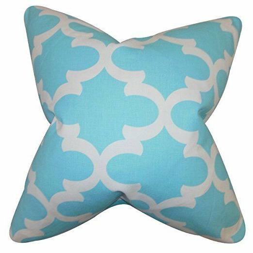 The Pillow Collection QUEEN Sky Blue Titian Geometric Beddin