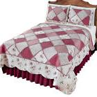 Reversible Floral Diamond Patchwork Bedding Quilt with Scall