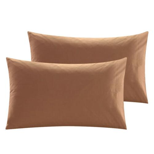 Set Cotton Bed Pillow Covers Ultra Soft Solid