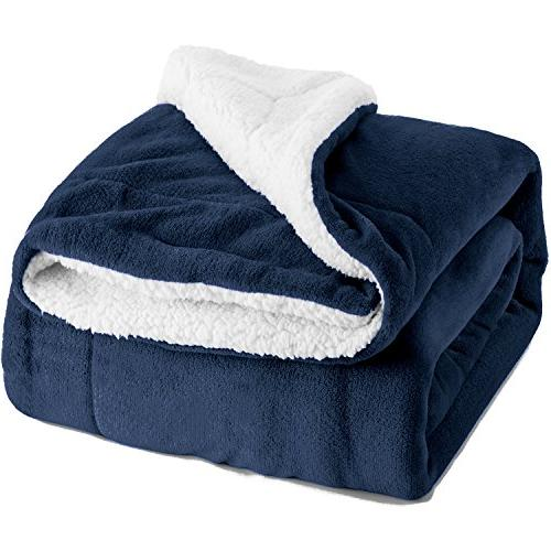 sherpa bed blanket navy blue