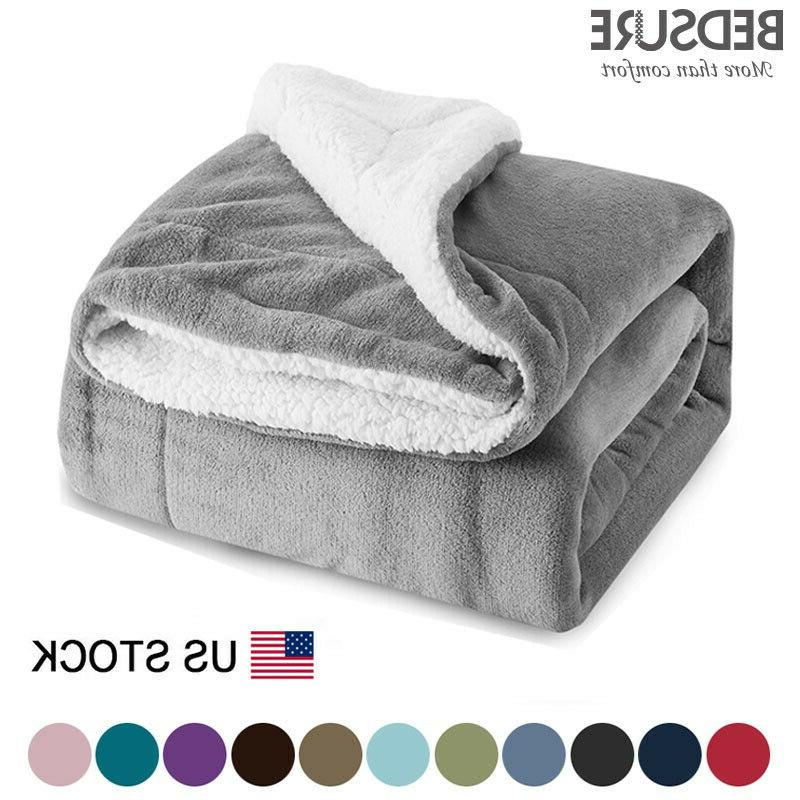 sherpa blanket throw fuzzy bed throws fleece